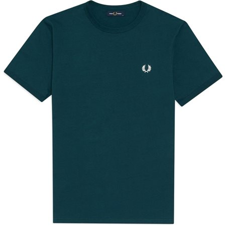 Fred Perry Petrol Blue Ringer T-Shirt  - Click to view a larger image