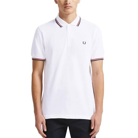 Fred Perry White / Red Twin Tipped Polo Shirt  - Click to view a larger image