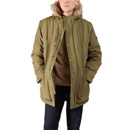 Farah Beattie Faux Fur Hooded Parka Viridian Green  - Click to view a larger image