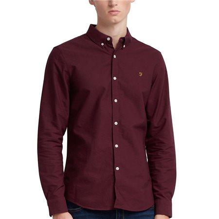 Farah Bordeaux Brewer Slim Fit Oxford Shirt  - Click to view a larger image