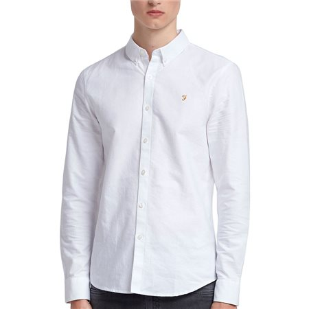Farah White Brewer Slim Fit Oxford Shirt  - Click to view a larger image