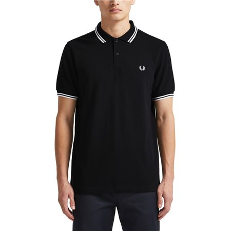Fred Perry Navy/White M3600 Twin Tipped Polo Shirt  - Click to view a larger image