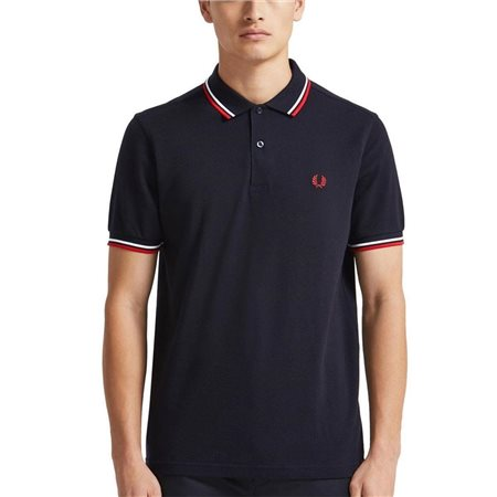 Fred Perry Navy / White / Red Twin Tipped Polo  - Click to view a larger image