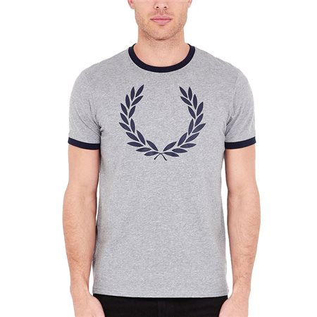f2bf744d Fred Perry Ringer T-Shirt Steel Marl - Click to view a larger image