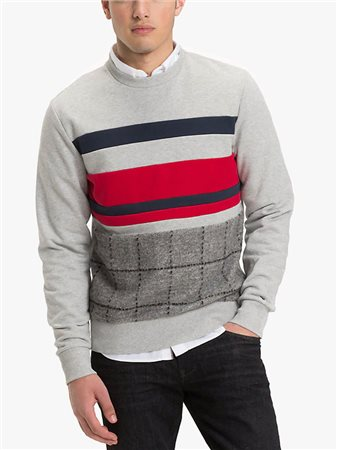 Tommy Hilfiger Cut And Sewn Checked Sweat Top Cloud Heather  - Click to view a larger image