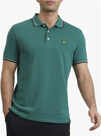 Lyle & Scott Tipped Polo Shirt Green  - Click to view a larger image