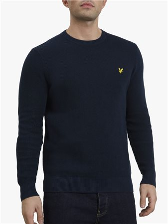 Lyle & Scott Waffle Crew Neck Knit Dark Navy  - Click to view a larger image