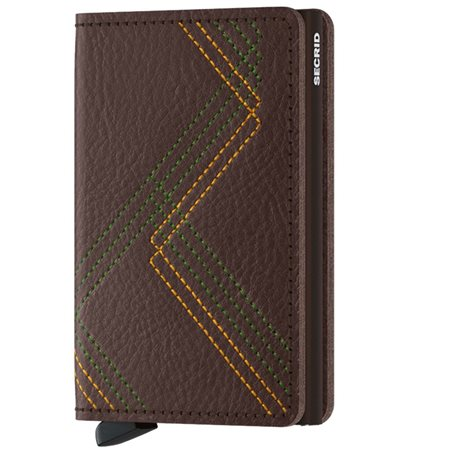 Secrid Espresso Linear Stitch Slim Wallet  - Click to view a larger image