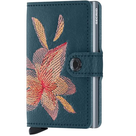 Secrid Petrolio Magnolia Stitch Slim Wallet  - Click to view a larger image