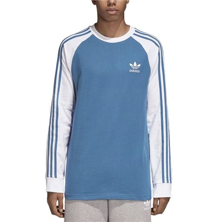 adidas Originals Blue Long Sleeve 3-Stripe T-Shirt  - Click to view a larger image