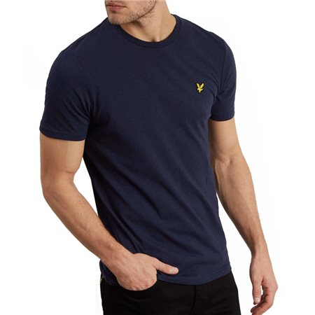Lyle & Scott Navy Marl Crew Neck Tee  - Click to view a larger image