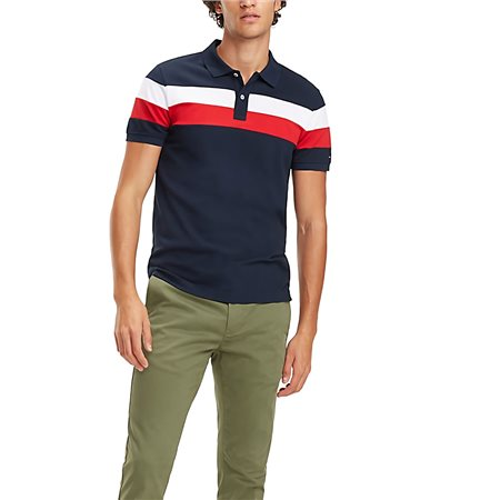 ad68b1684506 Tommy Hilfiger Sky Captain Stripe Slim Fit Polo - Click to view a larger  image