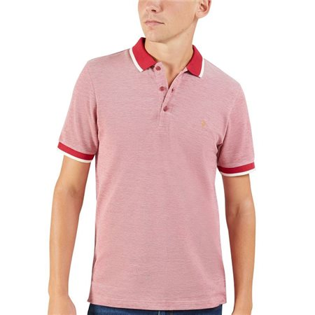 Farah Firebrick Red Basel Pique Polo  - Click to view a larger image