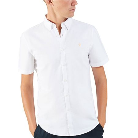 Farah White Brewer Short Sleeve Shirt   - Click to view a larger image