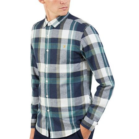Farah Green Biscuit Talib Check Shirt  - Click to view a larger image