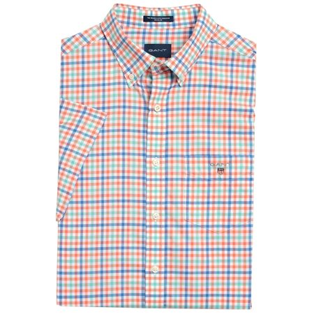 Gant Coral Broadcloth Regular Fit 3-Colour Gingham Short Sleeve Shirt  - Click to view a larger image