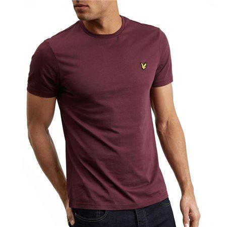 Lyle & Scott Burgandy Plain Crew Neck T-Shirt  - Click to view a larger image