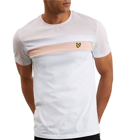 Lyle & Scott White Colour Block T-Shirt  - Click to view a larger image
