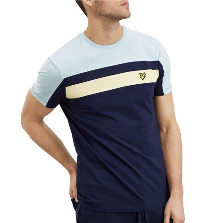 Lyle & Scott Navy Colour Block T-Shirt  - Click to view a larger image