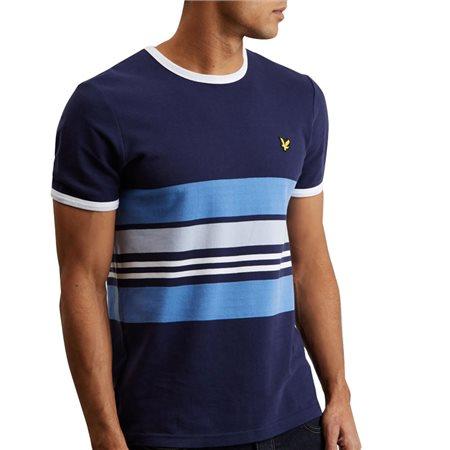 Lyle & Scott Navy Pique Stripe Ringer T-Shirt  - Click to view a larger image