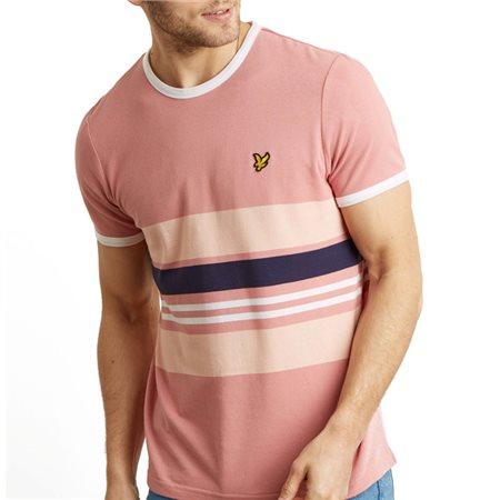 Lyle & Scott Dusty Lilac Pique Stripe Ringer T-Shirt  - Click to view a larger image