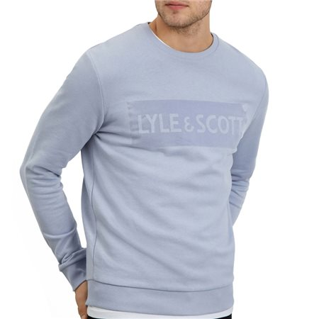 Lyle & Scott Cloud Blue Flock Logo Sweater  - Click to view a larger image