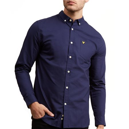 Lyle & Scott Navy Long Sleeve Oxford Shirt  - Click to view a larger image