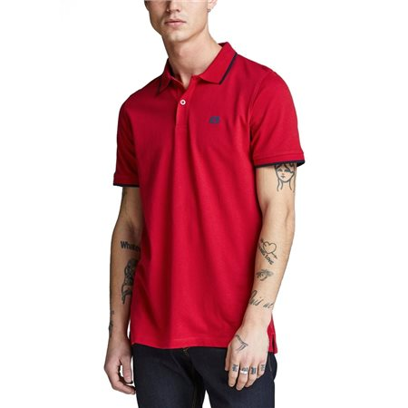 Jack & Jones Essentials Tango Red Stone Short Sleeve Polo  - Click to view a larger image