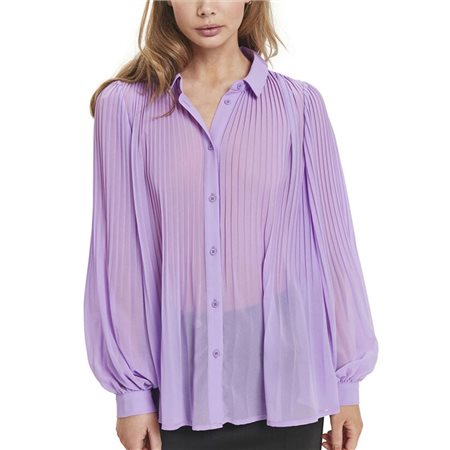 ICHI Purple Riat Pleated Blouse  - Click to view a larger image