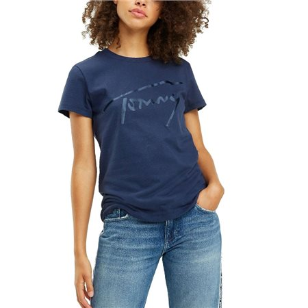 ff7621c5c0e Tommy Jeans Black Iris Satin Tommy Signature T-Shirt - Click to view a  larger