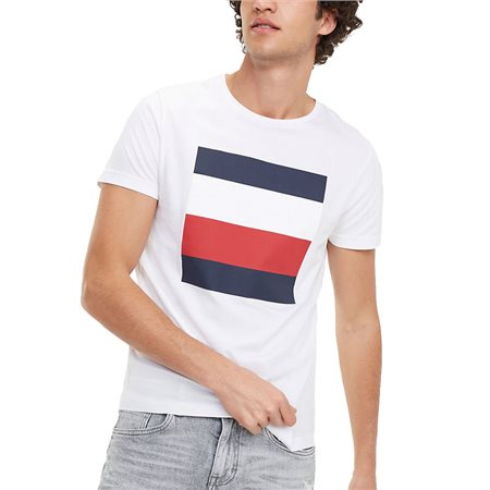 Tommy Hilfiger Bright White Signature Colour-Blocked Design T-Shirt  - Click to view a larger image