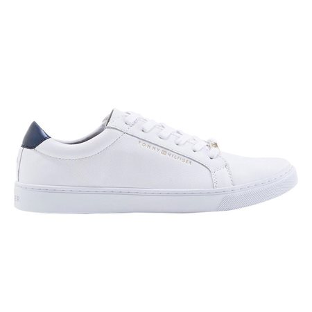 Tommy Hilfiger White Metallic Back Lace-Up Trainers  - Click to view a larger image