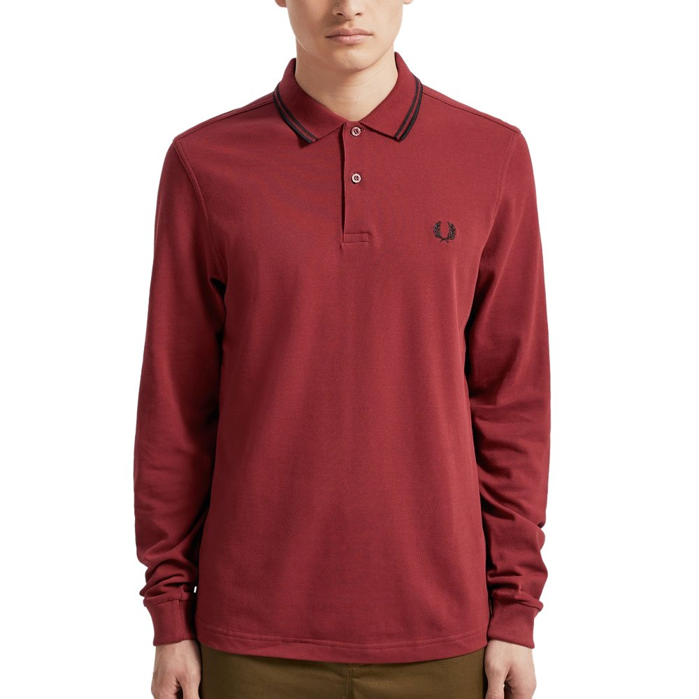köper nu varm försäljning online i lager Fred Perry Dark Red Twin Tipped Long Sleeved Polo Shirt ...