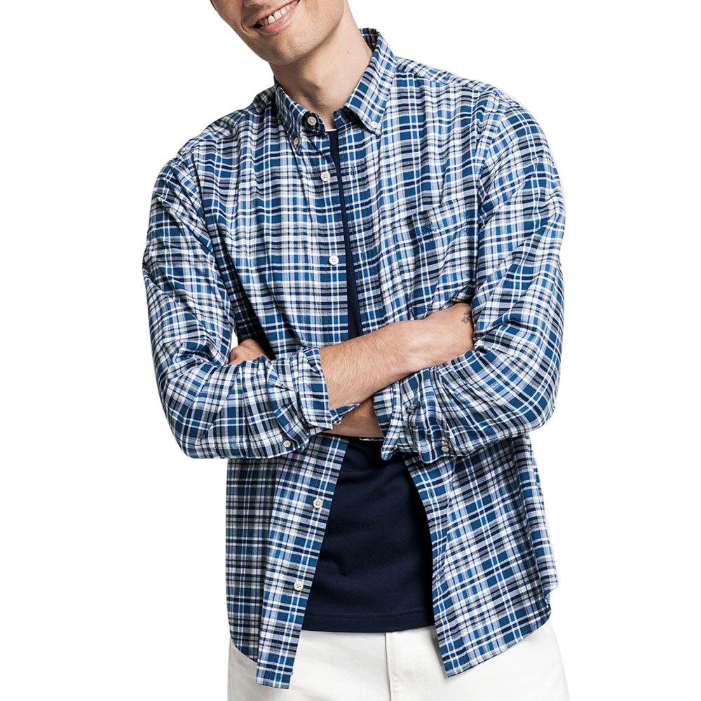 mest populär officiell butik 100% hög kvalitet Gant Vintage Blue Regular Fit Winter Twill Heather Shirt ...