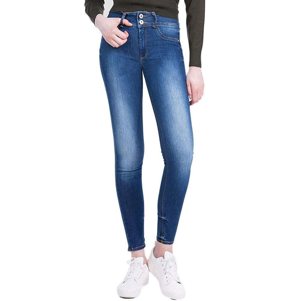 WOMENS LADIES SUPER SKINNY FIT HIGH WAIST COLOURED ACID WASH JEANS SIZE 6-14