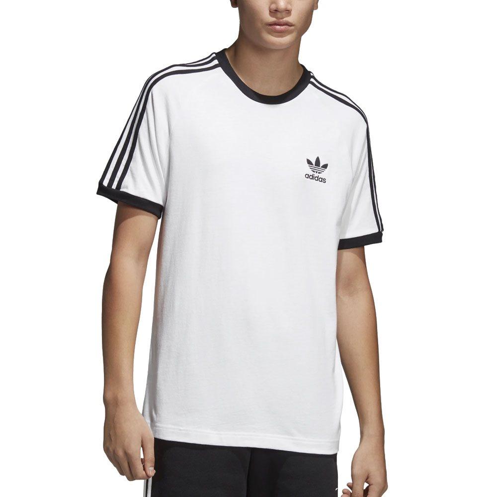 7217bfb9e adidas Originals White 3-Stripe Crew Neck T-Shirt | Free Delivery ...