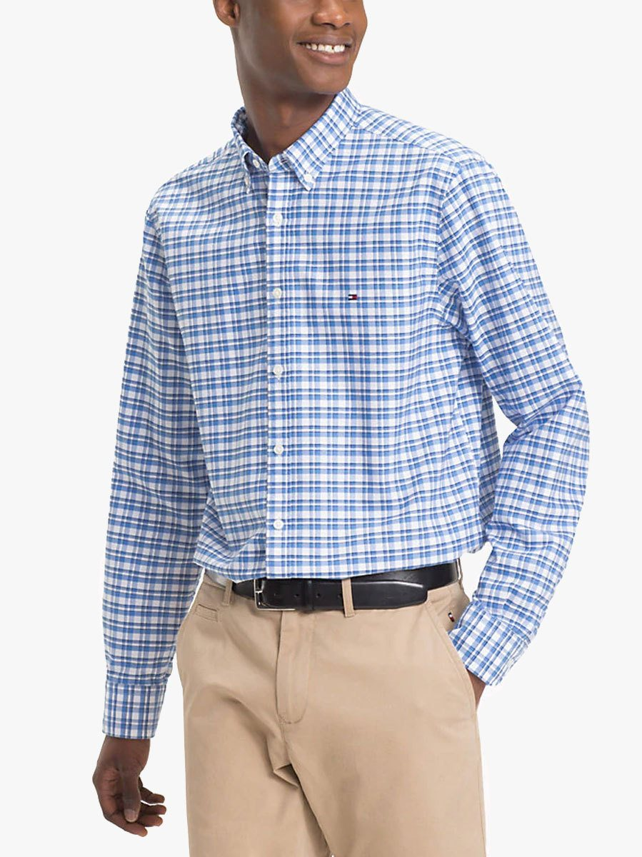 67a08f748afaf0 Tommy Hilfiger All Over Check Shirt Shirt Blue - Click to view a larger  image
