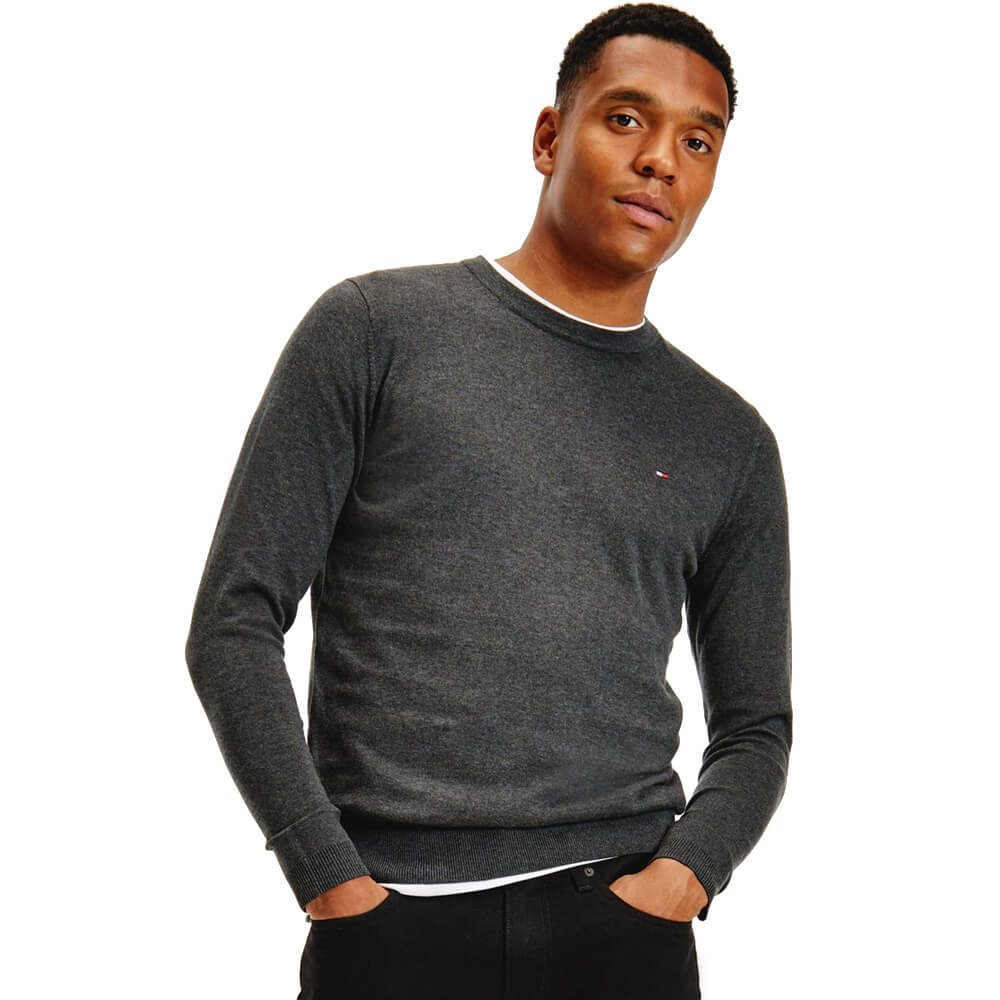 dba0175a Tommy Hilfiger Charcoal Marl Regular Fit Crew Neck Jumper - Click to view a  larger image