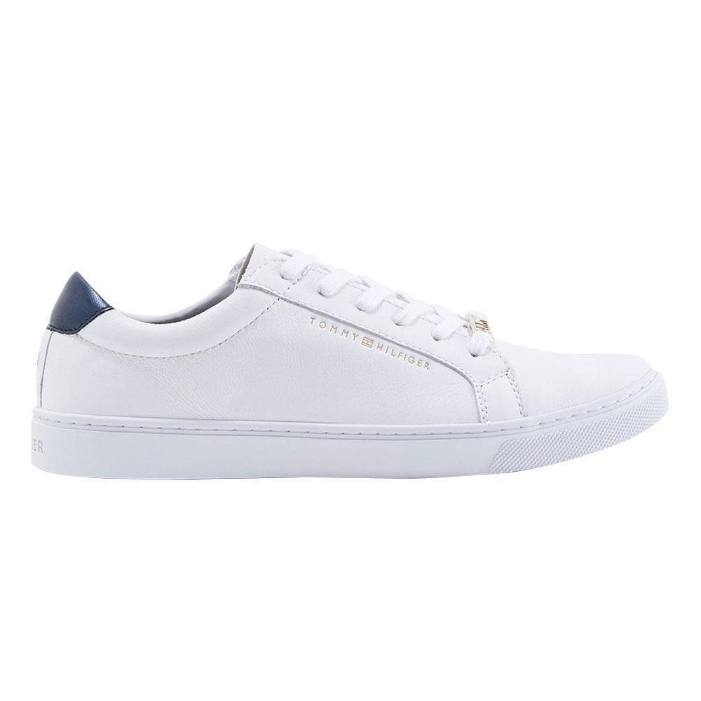 White Metallic Back Lace-Up Trainers