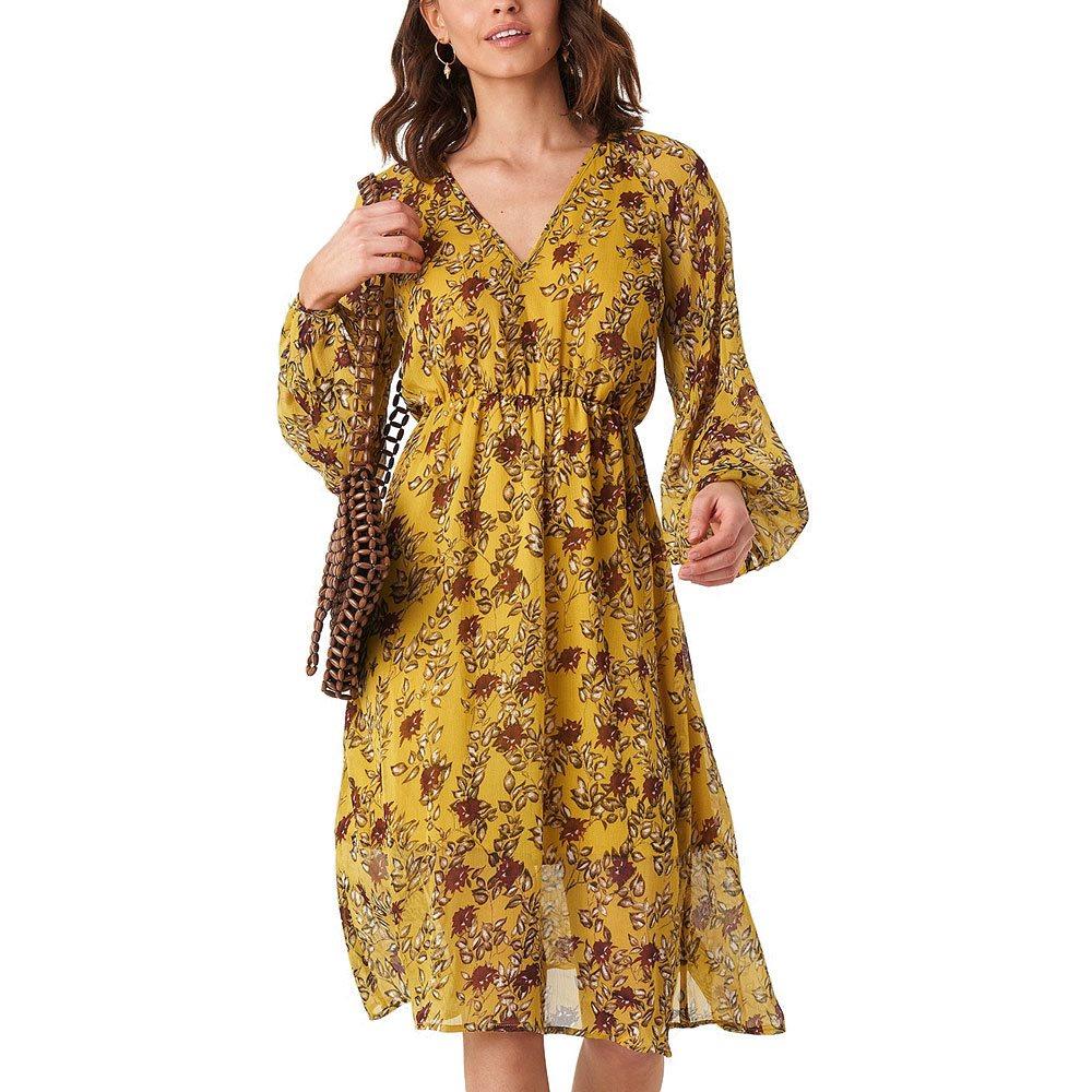 7170efe2018fb Yellow Flower Print Midi Dress - 34